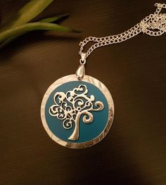 Tree of Life Necklace in Teal Tree Of Life Necklace, Teal, Pendant Necklace, Chain, Image, Silver, Jewelry, Tree Of Life, Jewlery
