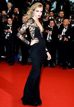 Cara Delevinge on the red carpet of the Cannes film festival