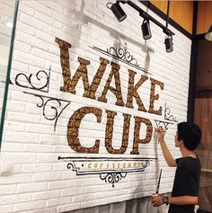 Jamal M. Aziz Environmental Design, Letter Wall, Over Dose, Brand Packaging, Brick Wall, Wall Signs, Typography, Wall Lettering, Coffee Shop