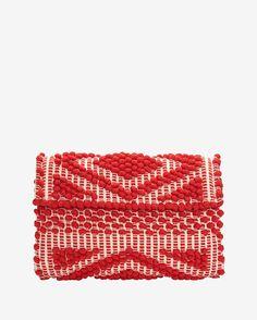 Antonello Foldover Cotton Clutch: Red | Shop IntermixOnline.com