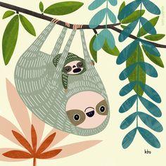 Children's Book Illustration, Digital Illustration, Art Illustrations, Cute Sloth, Ipad Art, All Things Cute, Cute Art, Stuff To Do, Childrens Books