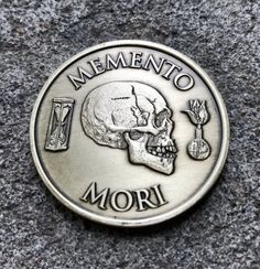 "Memento Mori medallion coin - Reminder of Marcus Aurelius' quote: ""You could leave life right now. Let that determine what you do and say and think. Memento Mori Coin, Memento Mori Art, Left Arm Tattoos, Wolf Tattoos, Sleeve Tattoos, Momento Mori Tattoo, Russian Criminal Tattoo, Stoicism Quotes, Marcus Aurelius Quotes"