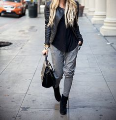 monochromatic, #ootd, casual chic, leather jacket