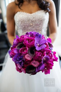 #Fuchsia #Purple #Bouquet | Christian Oth Studio | See more on #SMP Weddings -  http://www.StyleMePretty.com/new-york-weddings/2014/01/03/traditional-nyc-wedding-at-gotham-hall/