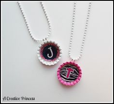 A Creative Princess tutorial: Bottle Cap Necklaces. Incredibly easy and inexpensive and oh so cute!!!