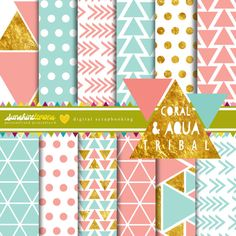 Geometric Tribal Coral and Aqua Digital Papers - Pastel Digital Paper Set - Set of 12