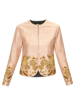 peach raw silk jacket with floral jaal embroidery on the front hemline and sleeves.
