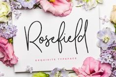 Rosefield Typeface. Signature style font. A soft-edged font with full alternates Designed to work perfectly for designs like wedding invitations, website logos, Instagram posts, digital prints and more!