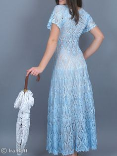 Handmade Crocheted Blue Dress