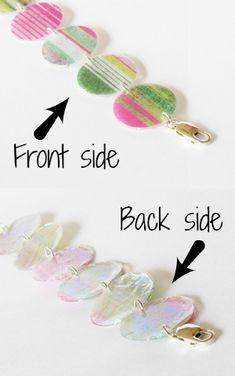 Resin Obsession blog: DIY Reversible resin paper bracelet