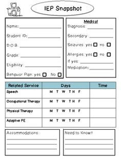iep at a glance template - student cheat sheets and its ok on pinterest