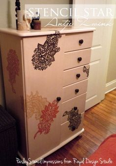 Lacy stencil motifs in a random pattern liven up a family hand-me-down. http://www.royaldesignstudio.com/blogs/stencil-ideas/7976249-stencils-dressers-drawers-oh-my
