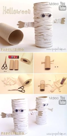 HALLOWEEN CRAFTS FOR KIDS: these Halloween toilet paper rolls are too cute! A pumpkin, mummy, frankenstein and vampire toilet paper roll crafts for Halloween. An easy Halloween craft for toddlers or preschool! Theme Halloween, Halloween Paper Crafts, Manualidades Halloween, Halloween Activities, Holidays Halloween, Fall Crafts, Mummy Crafts, Pinata Halloween, Holiday Crafts