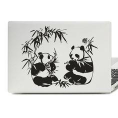 Panda And Bamboo Laptop Skin Sticker Laptop Decal, Laptop Stickers, Panda Art, Laptop Covers, Laptop Skin, Vinyl Decals, Bamboo, Green, Notebook Covers