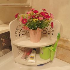 Garden Style Bathroom/toilets Shelves Waterproof Storage Rack White Washstand Commodity Shelf Corner Shelf (Style A) ^^ Don't get left behind, see this great product : Corner Shelves