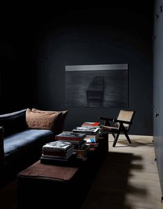 """""""You touch the place where we meet / Where you and I become she and he."""" - SUEDE - (Moody Living Room designed by Vincent van Duysen) Living Tv, My Living Room, Home And Living, Living Spaces, Modern Living, Home Interior, Interior Styling, Interior Architecture, Interior And Exterior"""