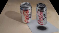 Drawing Coca Cola Light - How to Draw Coca Cola Can - 3D Anamorphic Illu...
