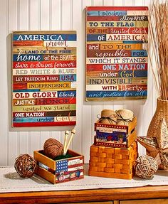 Add some sentimental patriotism to any room with this Patriotic Home Decor Collection. Each piece has laidback country style and a rustic look. The Set of 2 Cra