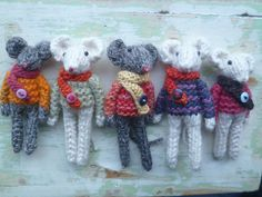 """The mouse in the picture was knitted on 3.5mm needles using odds and ends of 4ply yarn. It measures approx 4""""."""