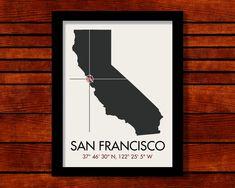 San Francisco Latitude Longitude Map Art City by MrCityPrinting, $25.00
