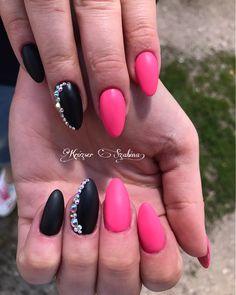 Black pink matte nails