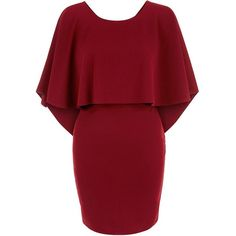 Loving This Burgundy Cape Dress ($29) ❤ liked on Polyvore featuring dresses, burgundy, red dress, burgundy dress, tie dress, round neck short sleeve dress and red short sleeve dress