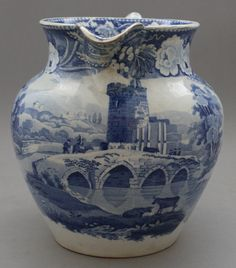Antique Pottery Pearlware Blue Transfer Don Pottery Lucano Large Jug 1825 MARKED
