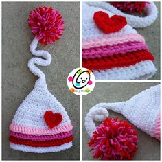 Valentine's Day is just a couple of months away and I'm already looking for LOVEly crochet beauty for you.  This really amazing pixie style hat was designed by Heidi Yates of Snappy Tots. She has so many amazing hat designs that it's hard to choose one.  This hat is made with