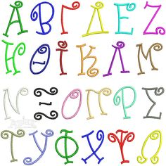 """Bongo Greek Embroidery Font. Size: 2"""", 4"""" and 6"""" sets"""