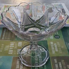 vintage blown pale pink glass lead cut crystal pedestal bowl candy dish