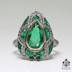 Antique Art Deco Platinum 3.17ct. Emerald & Diamond Ring. Period : Art Deco (1920-1935). Composition: Platinum. 1 natural pear cut emerald that weighs 1.17ctw. Ring size: 6 ¾. Ring face: 20mm by 15mm. | eBay!