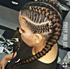 16 + SIDE CORNROW hairstyles for a special look - Side cornrows and coored braids - Box Braids Hairstyles, Girl Hairstyles, Fancy Hairstyles, Protective Hairstyles, Side Cornrows, 4 Braids Cornrows, Curly Hair Styles, Natural Hair Styles, African Hairstyles