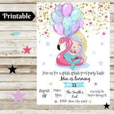 Mermaid Party Invitations, Printable Birthday Invitations, Watercolor Invitations, Printable Designs, Printables, Unicornios Wallpaper, Watercolor Mermaid, Thing 1, Party