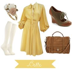 And last, but certainly not least we have the Belle inspired outfit. The main objective of this outfit is comfort and practicality. I chose this dress because it's a nice length and it's nice and billowy. The other key part of this outfit is a stylish book bag. Belle is known for being a bookworm so you can bet she needs something to carry them all in. Lastly I threw in a ring with roses to symbolize the enchanted rose the Beast has.