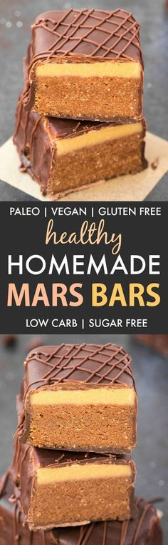Healthy Homemade Mars Bars (Paleo, Vegan, Sugar Free)- An easy, homemade healthy mars bar recipe which is low carb, dairy free and gluten free. A guilt-free dessert or snack! {v, gf, p}- thebigmansworld.com #marsbar #homemadecandy