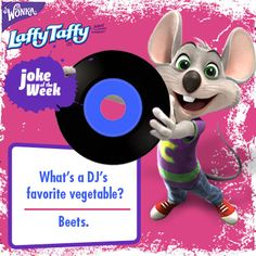 His name is Chuck E., and he came to say – we're going to rock our veggies today! #jokes Bad Dad Jokes, Kid Jokes, Work Jokes, Cute Jokes, Jokes For Kids, Kid Friendly Jokes, Laffy Taffy, Chuck E Cheese, Comedy Nights