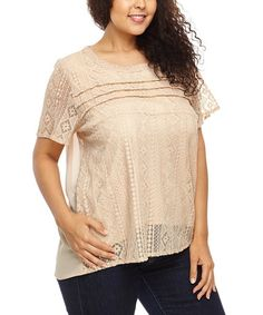Another great find on #zulily! Beige Geometric Lace Hi-Low Top - Plus by C.O.C. #zulilyfinds