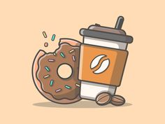 Donut & coffee 🍩☕ -- Donut & coffee are friend 👬 don't forget to start your day with sweet donut and good coffee 😉👌 anyway what's your… Flat Design Illustration, Line Illustration, Coffee Illustration, Coffee Drawing, Coffee Art, Dunkin' Donuts, Coffee Vector, Cute Easy Drawings, Affinity Designer