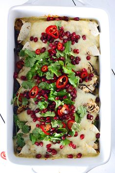 Sweet and Spicy Pomegranate and Poblano Chicken Enchiladas