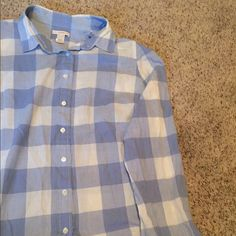 J.Crew flannel Blue and white Jcrew flannel size 8 J. Crew Tops