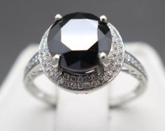 2.80 tcw Natural Black & White Diamond Halo Design Ring AAA Grade Natural Diamond Engagement Ring Certified, Graded and Apprasied!