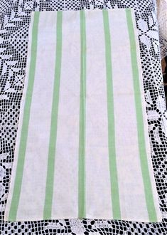 1940s Vintage Linen Kitchen Towel by Cannon White with Green