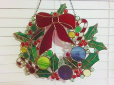 Facebook Free Giveaway, 17 inch stained glass Christmas wreath