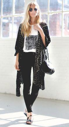 Black skinny jeans, graphic top & kimono jacket