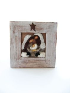 Christmas Nativity  Felted  looks very rustic.