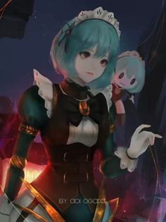 Anime picture 995x1328 with original aoi ogata single tall image short hair breasts red eyes fringe blue hair looking away holding hair between eyes signed black eyes lips upper body lipstick puffy sleeves looking down pink lipstick