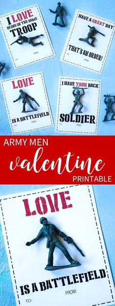 Fun and easy boy's valentine idea!  Download your printable cards and add your favorite army men for a fun Valentine!