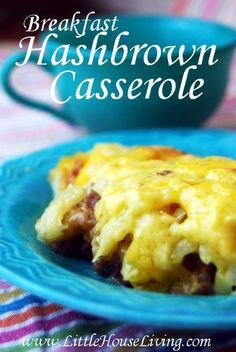 Cheesy Breakfast Hashbrown Casserole #breakfast #simple #casserole
