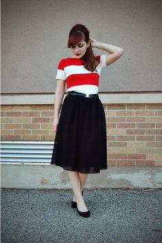 Black Thrifted Shoes :: Red Nautical Striped Forever 21 Dress :: Black Midi Forever 21 Skirt :: Black Vintage Belt