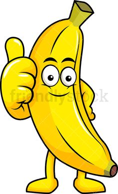 Banana Mascot Making A Thumbs Up Gesture: Royalty-free stock vector illustration of a banana cartoon character smiling and giving the thumbs up to show approval. Cartoon Banana, Fruit Cartoon, Cartoon Drawings, Easy Drawings, Cute Cartoon Images, Baby Looney Tunes, Banana Art, Teddy Bear Pictures, Fruit Picture